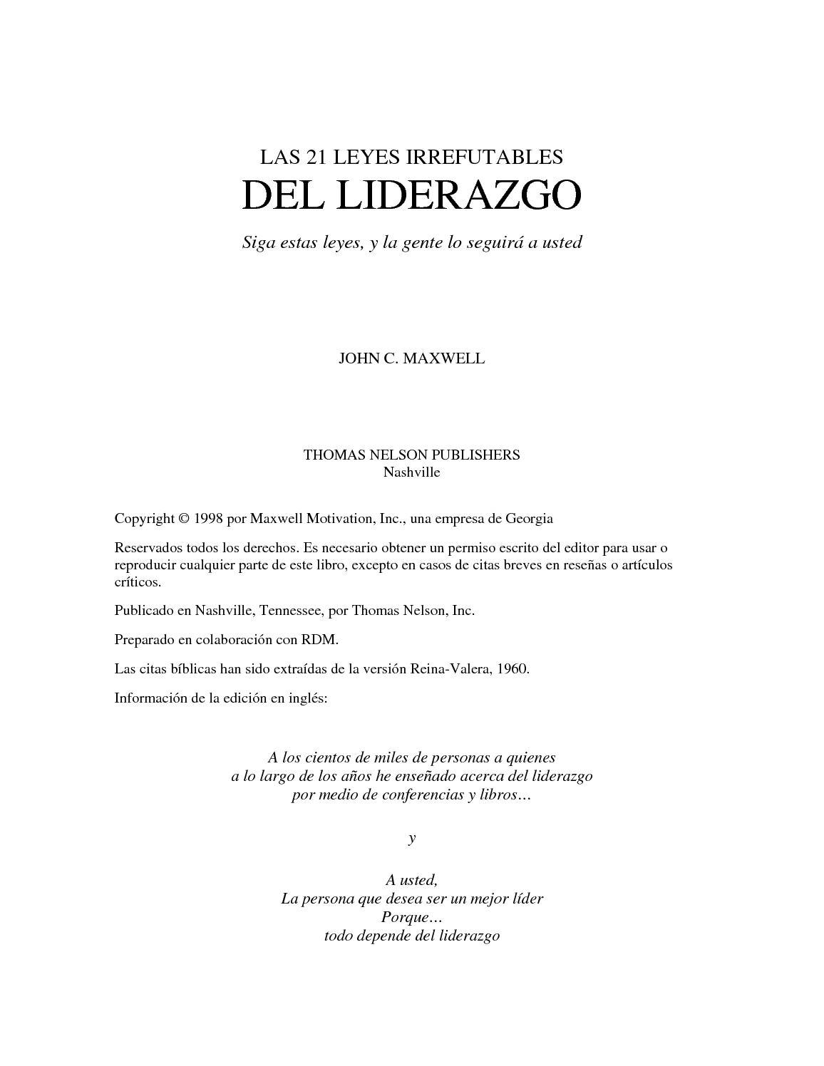 Calaméo - Las 21 Leyes Irrefutables Del Liderazgo 1