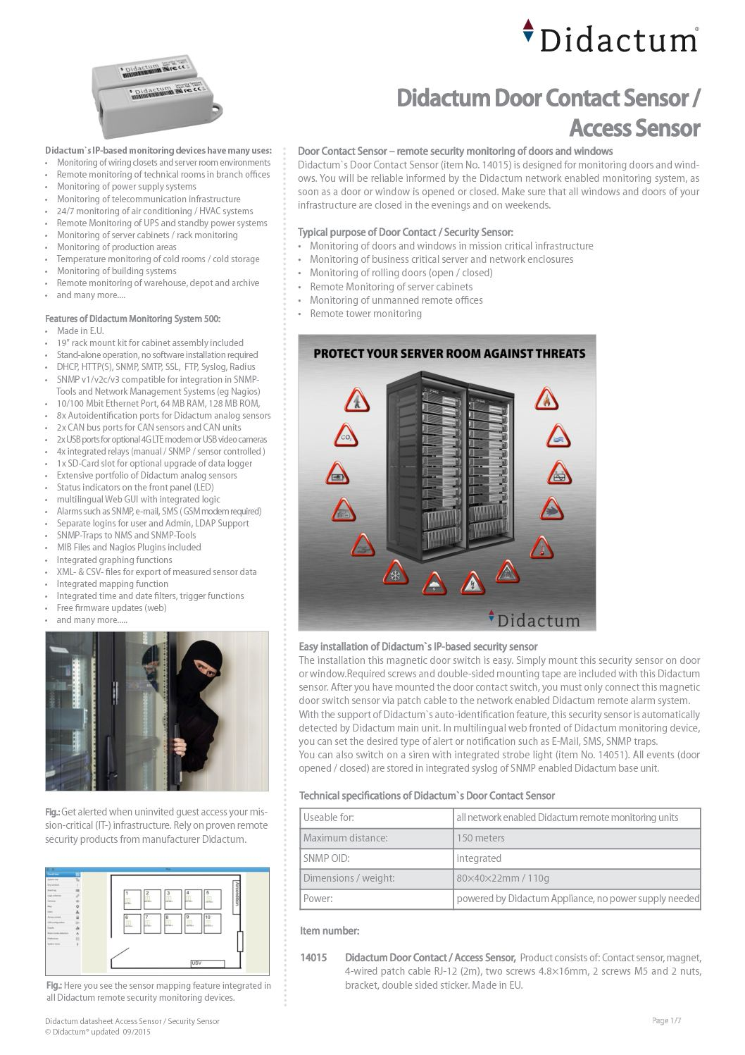 Calamo Didactum Door Contact Sensor Remote Monitoring Of Doors Security Contacts Wiring Series And Windows