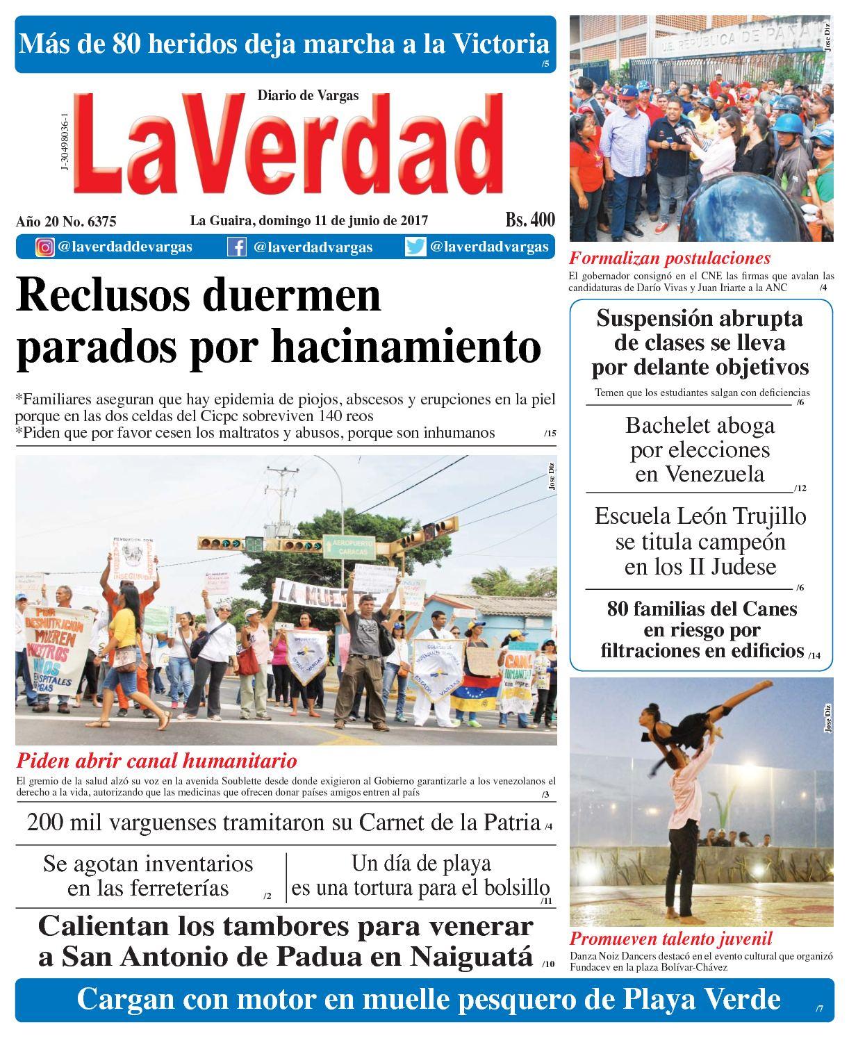 La Guaira, domingo 11 de junio de 2017 Año 20 No. 6375