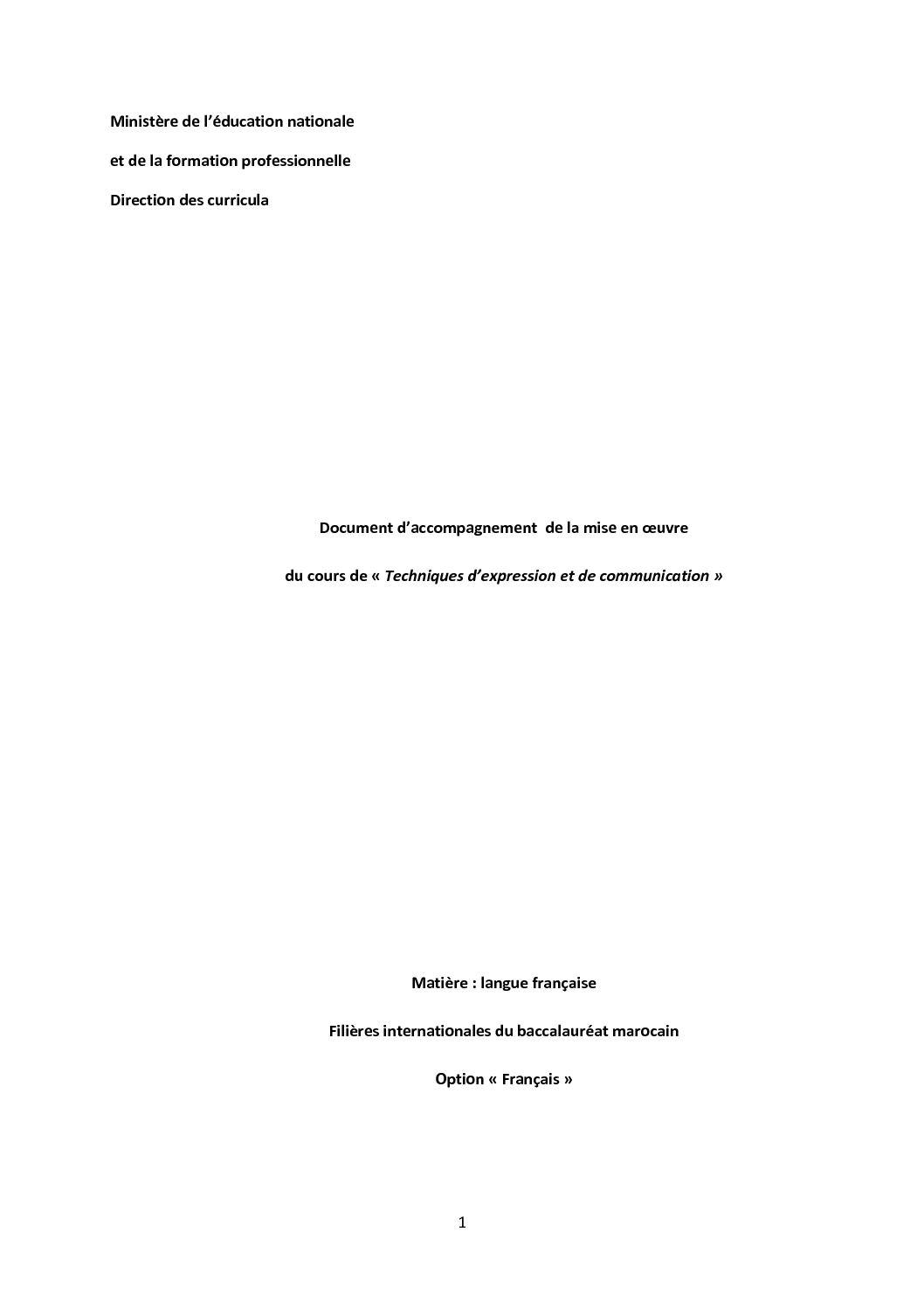 Document Accompagnement De La Mise En Oeuvre Du Cours De Tec Dans Les S Internationales Au Maroc