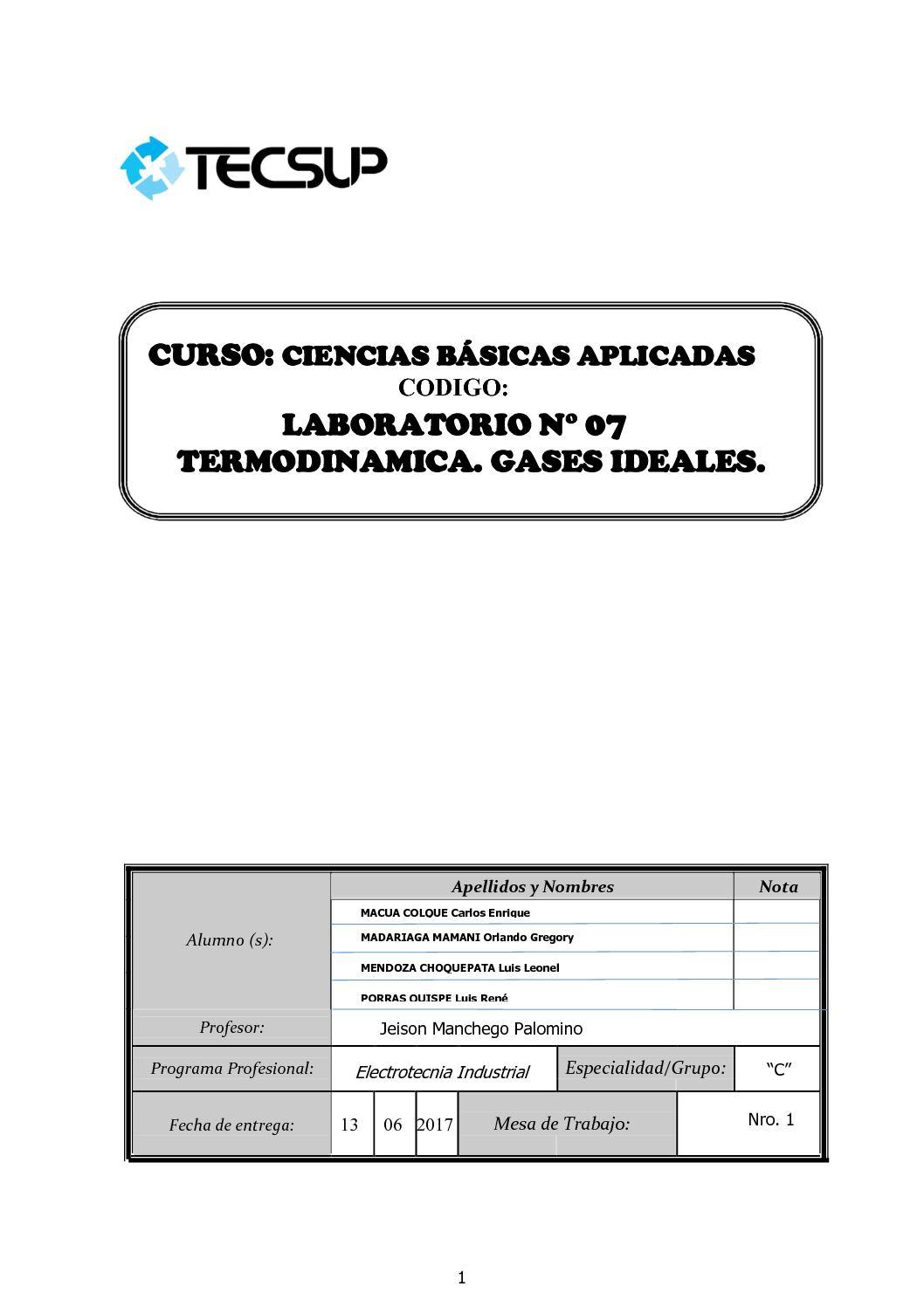 Informe De Laboratorio Nº 06 Termodinamica