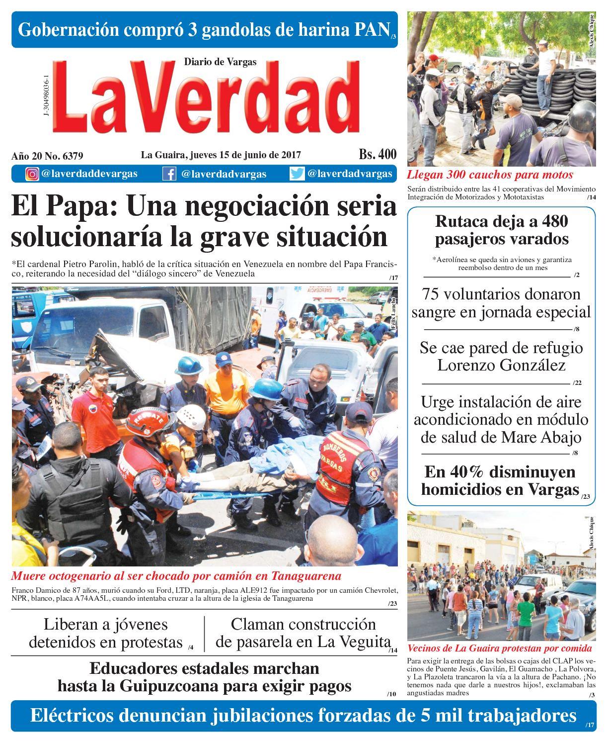 La Guaira, jueves 15 de junio de 2017 Año 20 No. 6379