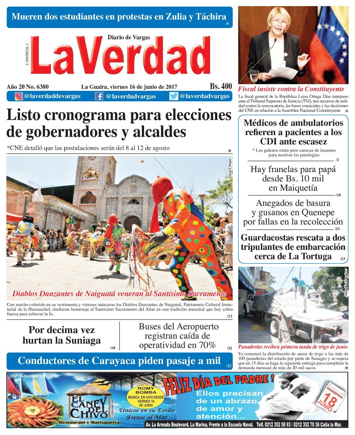 La Guaira, Viernes 16 De Junio De 2017 Año 20 No 6380