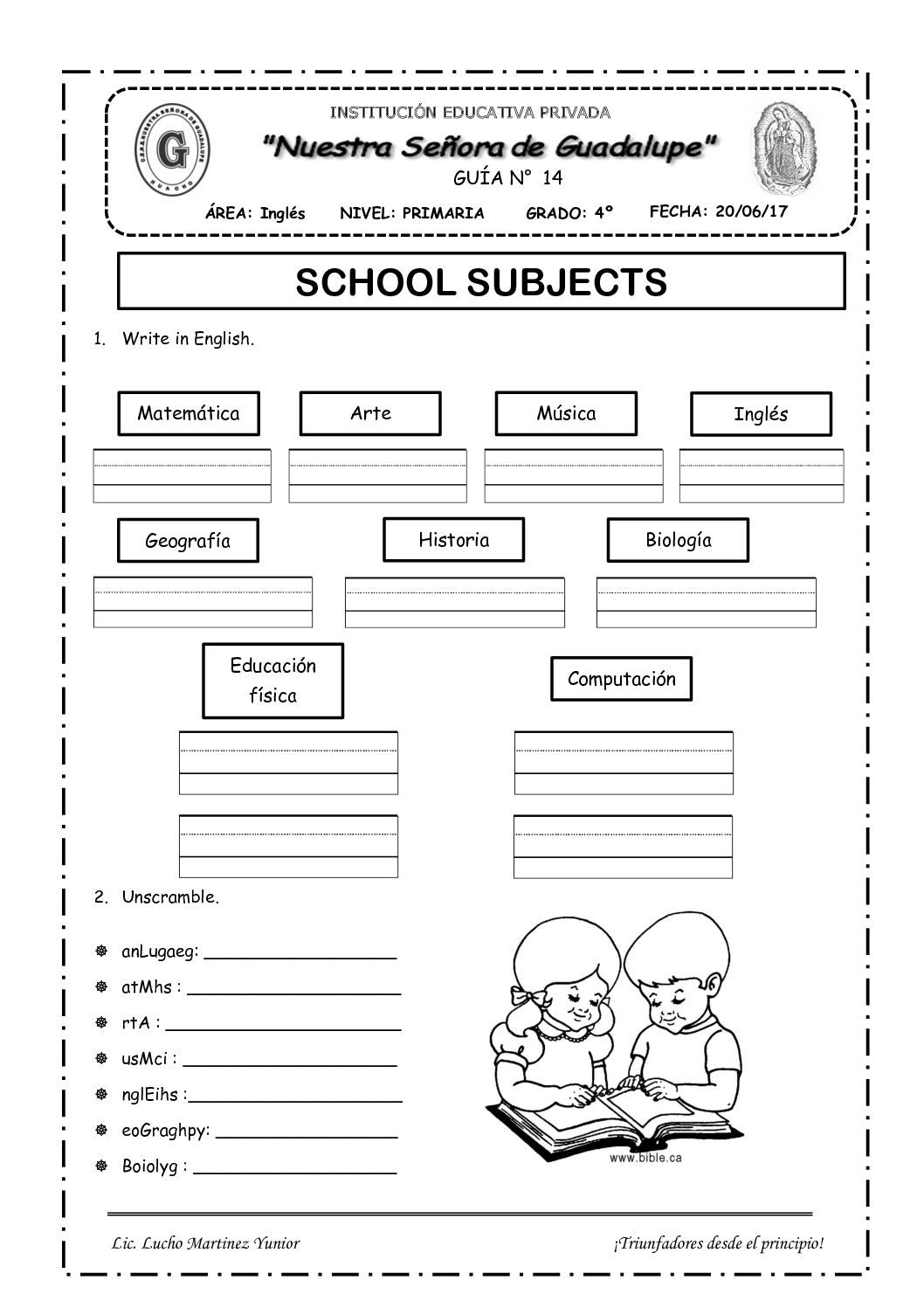 School Subjects 4to