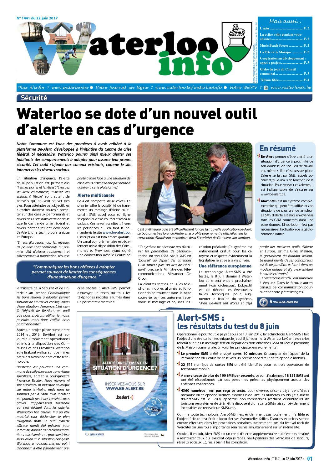Waterloo Info 1441 du 22 juin 2017
