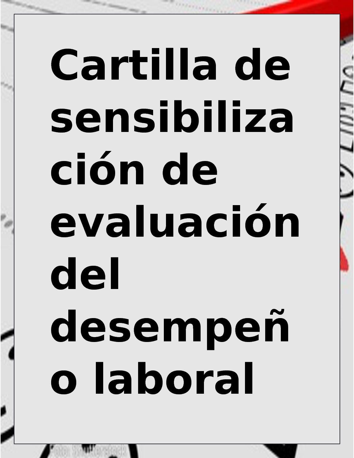 Cartilla De Sensibilizacion De Evaluacion Del Desempeño Laboral