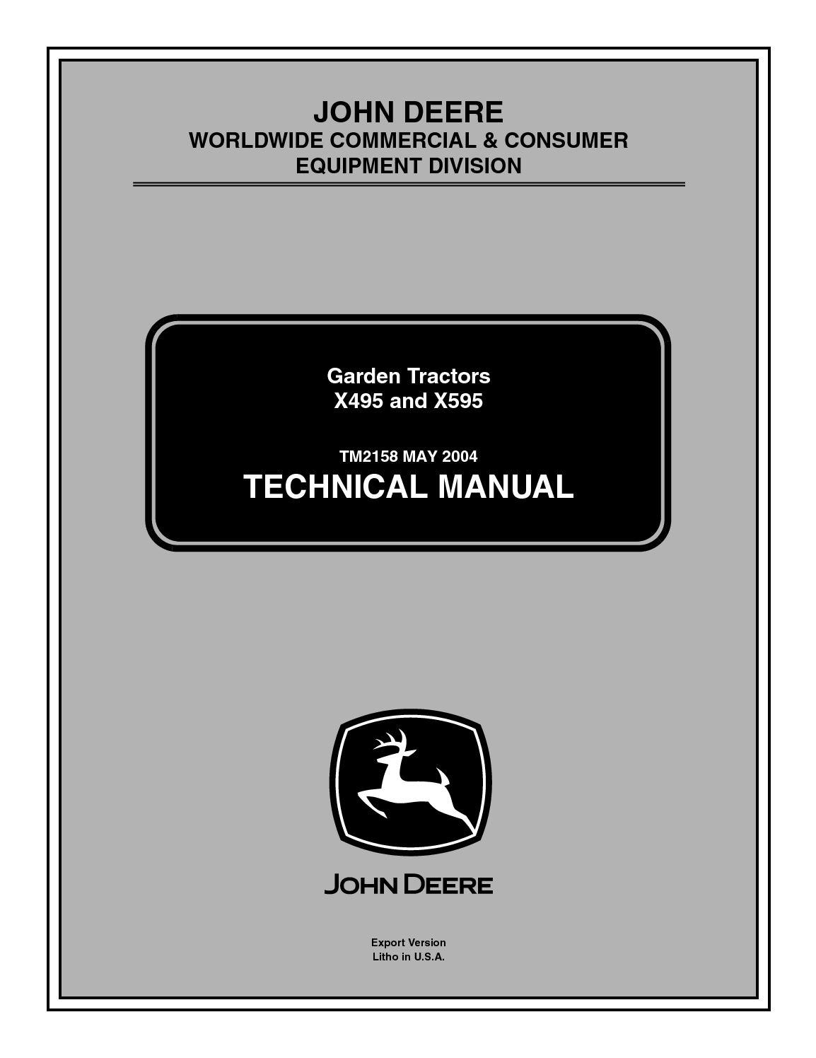 Calamo John Deere X495 Lawn Garden Tractor Service Repair Manual 270 Alternator Wiring Diagram