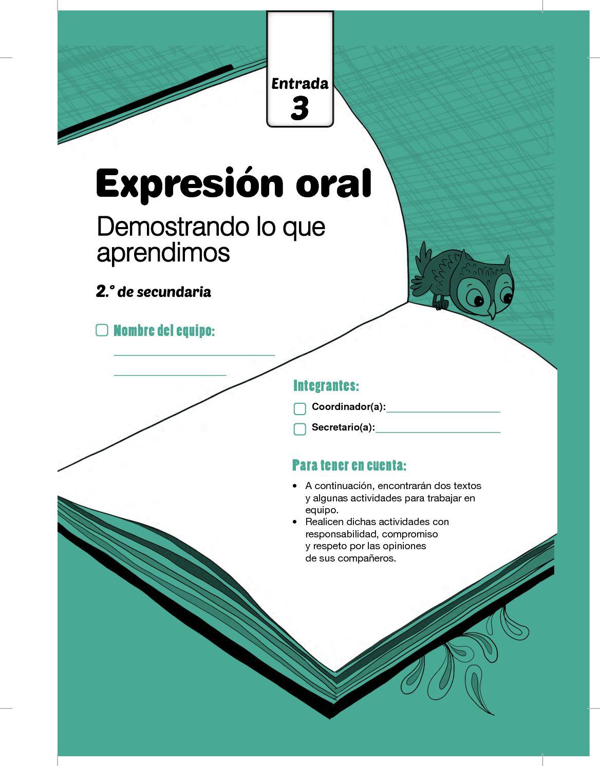 Cuadernillos Secundaria Comunicacion Entrada Cuadernillo Entrada3 Exp Oral 2do Grado