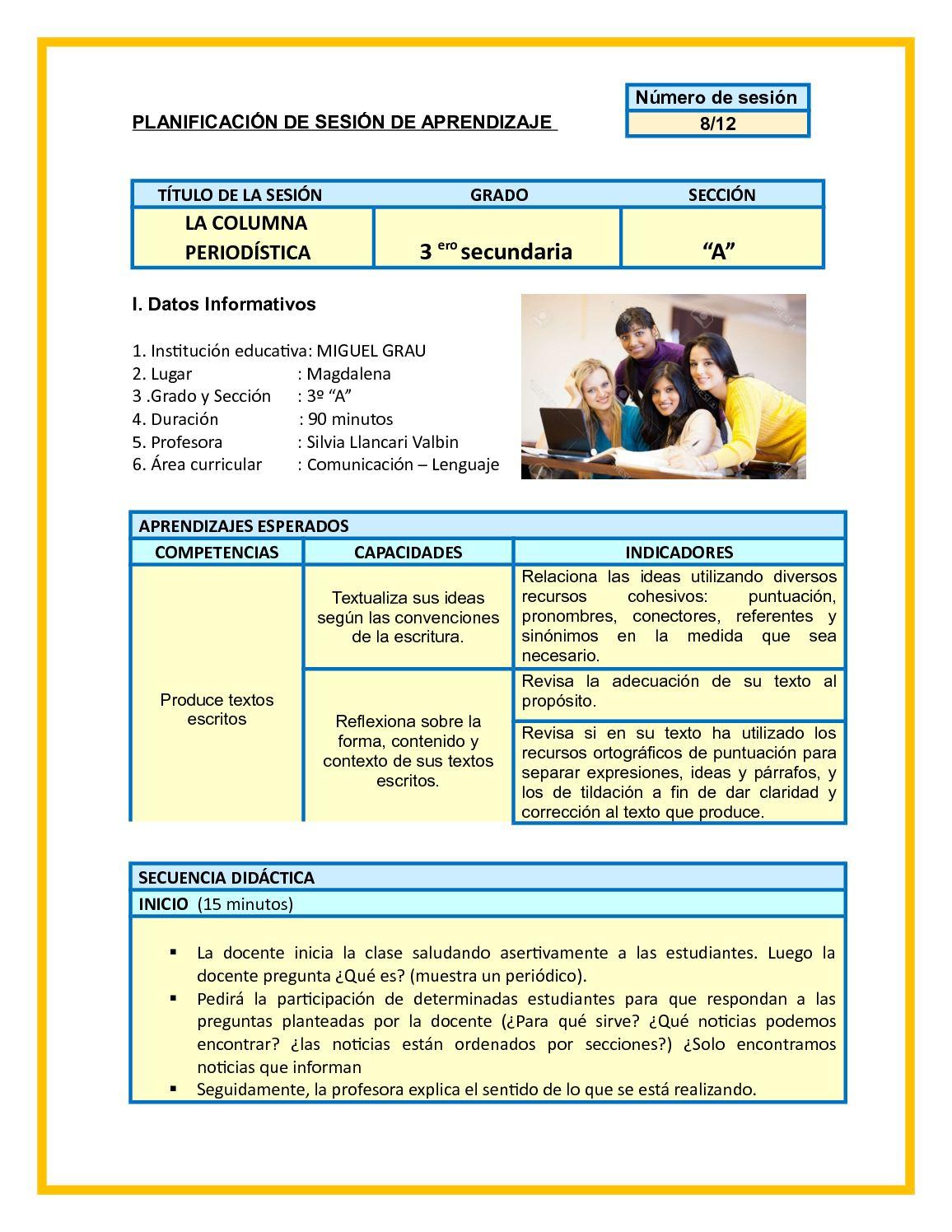 Planificación De Sesión De Aprendizaje 8