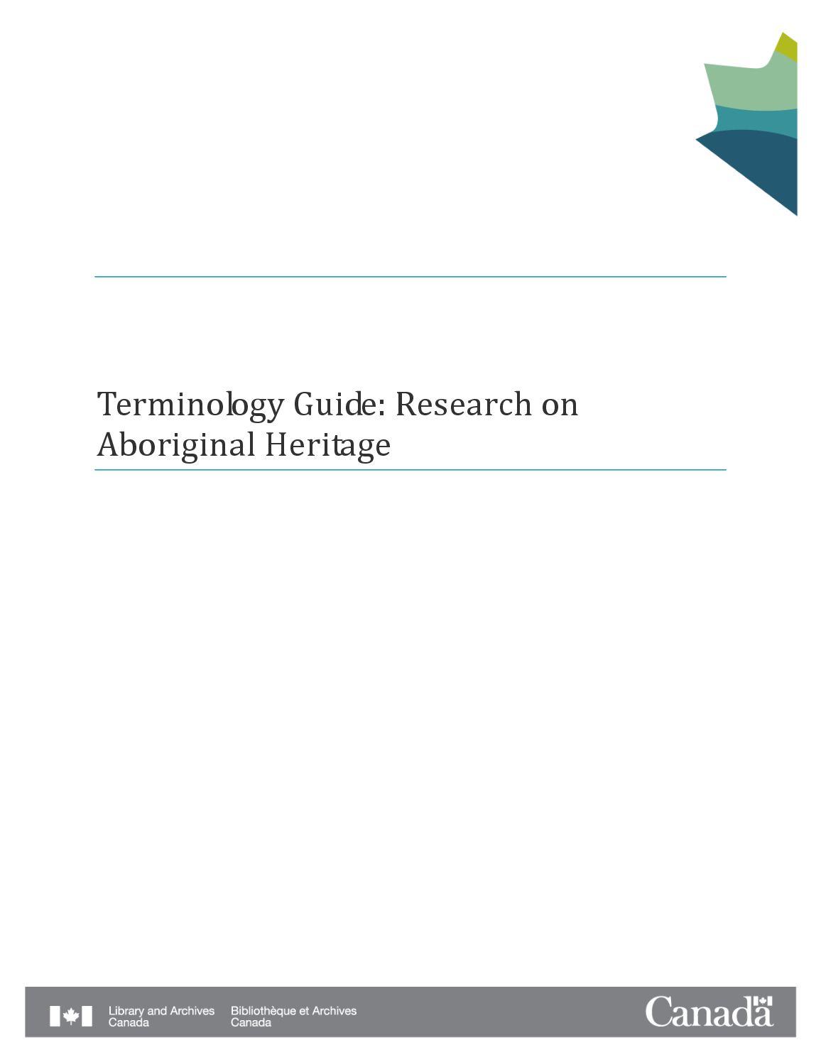 Terminology Guide  Aboriginal Heritage