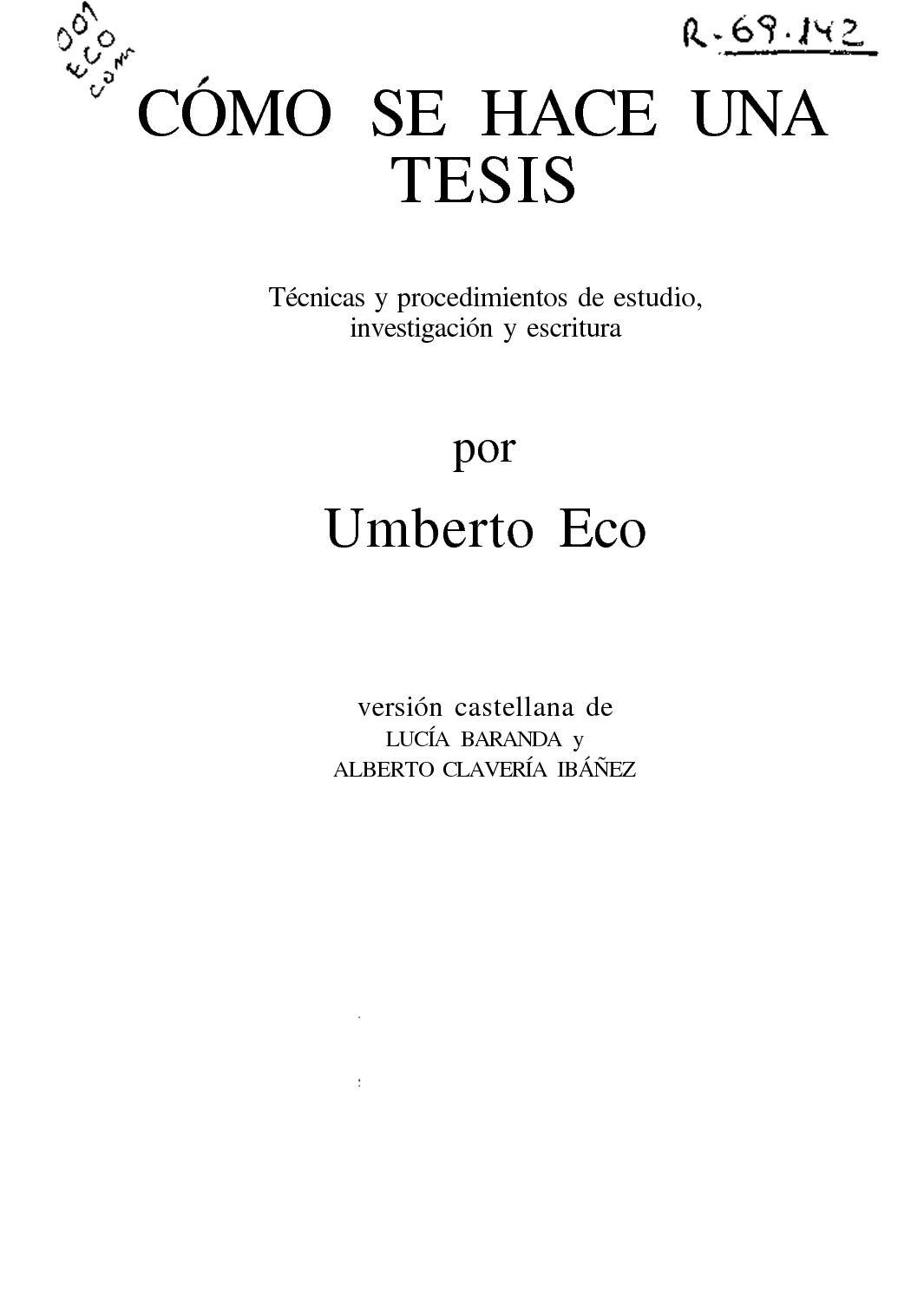 Calaméo - Como Hacer Una Tesis Umberto Eco