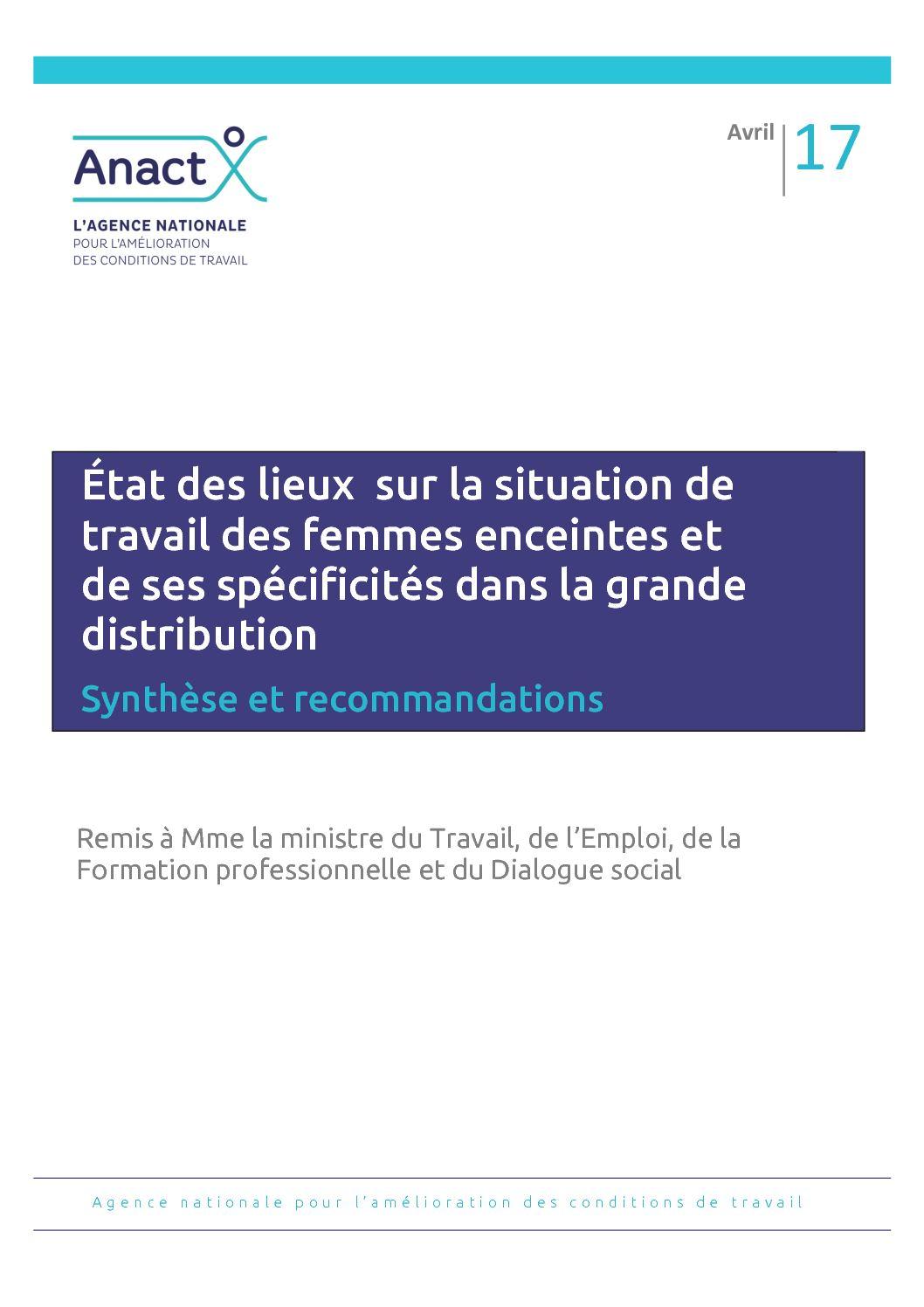 Vignette document Etat des lieux de la situation de travail des femmes enceintes et de ses spécificités dans la grande distribution. Synthèse et recommandations