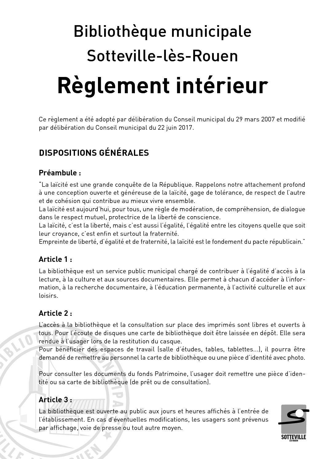Calam o r glement int rieur biblioth que de sotteville for Reglement interieur ce