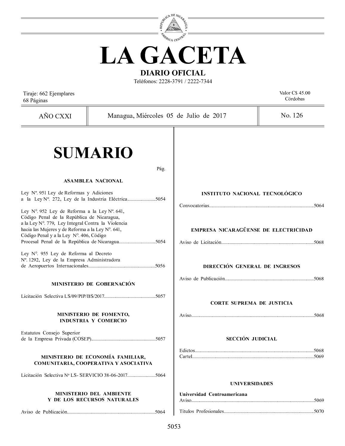 Gaceta No 126 Miércoles 05 De Julio De 2017