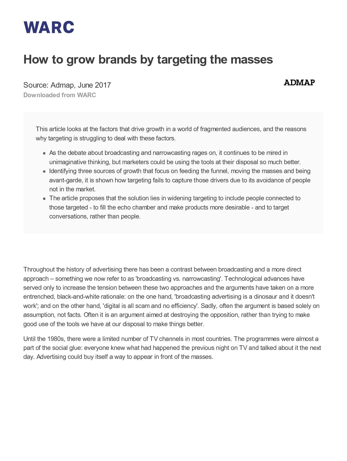 How To Grow Brands By Targeting The Mass