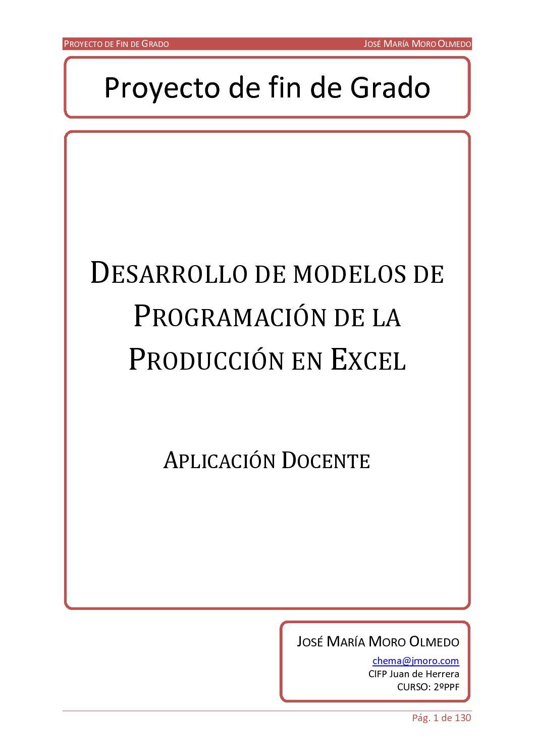 Desarrollo De Modelos De Programación De La Producción En Excel Aplicación Docente