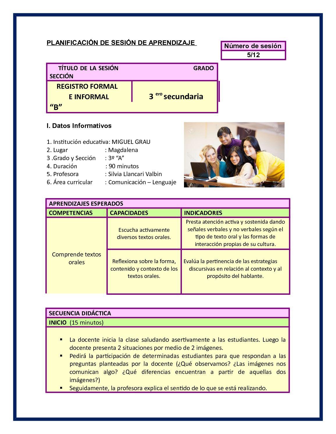 Planificación De Sesión De Aprendizaje 5