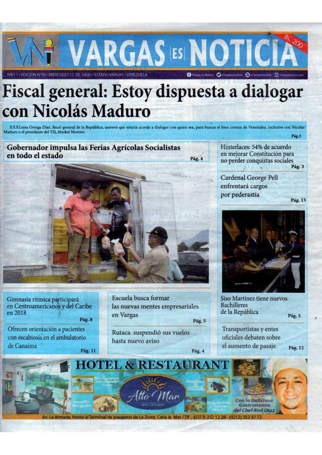 Vargas es Noticia, miércoles 12 de julio de 2017 N° 70