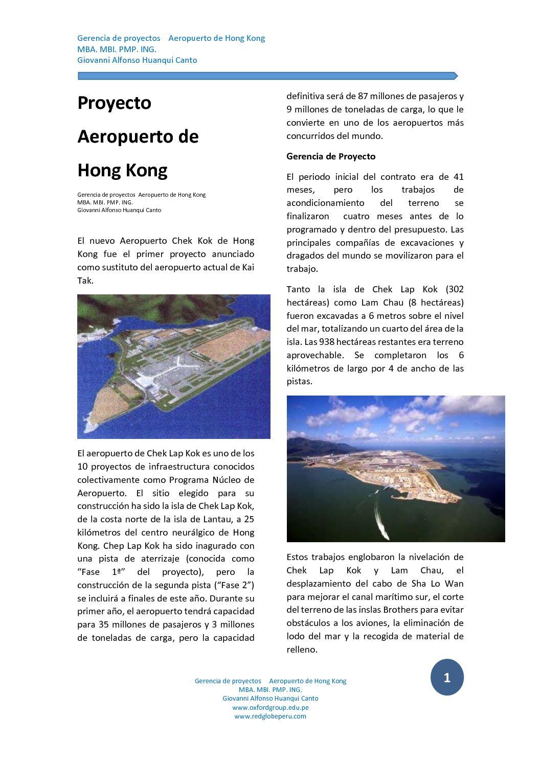Caso Proyecto Aeropuerto De Hong Kong Gerencia De Proyectos Giovanni Alfonso Huanqui Canto