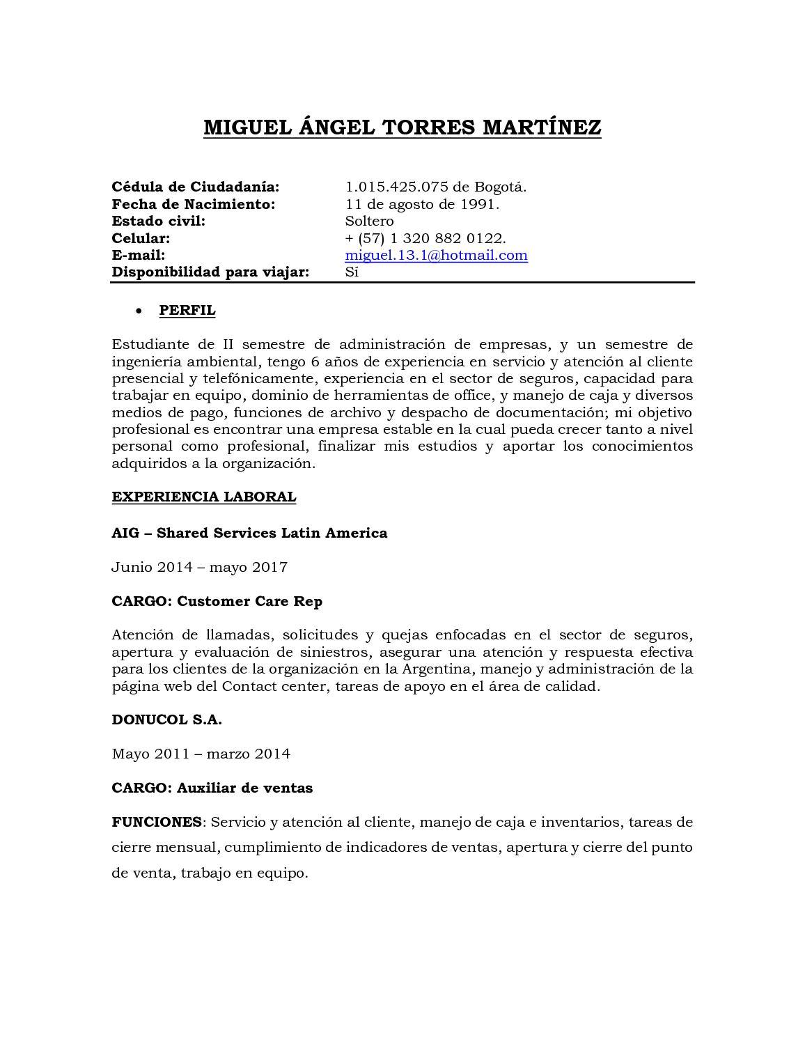 Calaméo - Hoja De Vida Miguel Torres