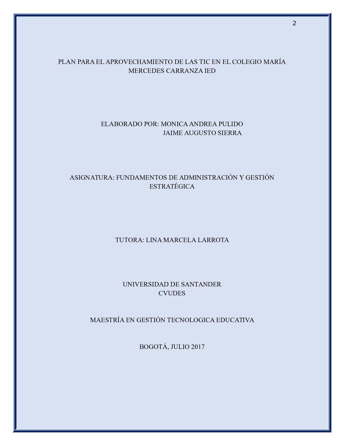 Calaméo - Plan Para Aprovechamiento De Las Tic En El Colegio Maria ...