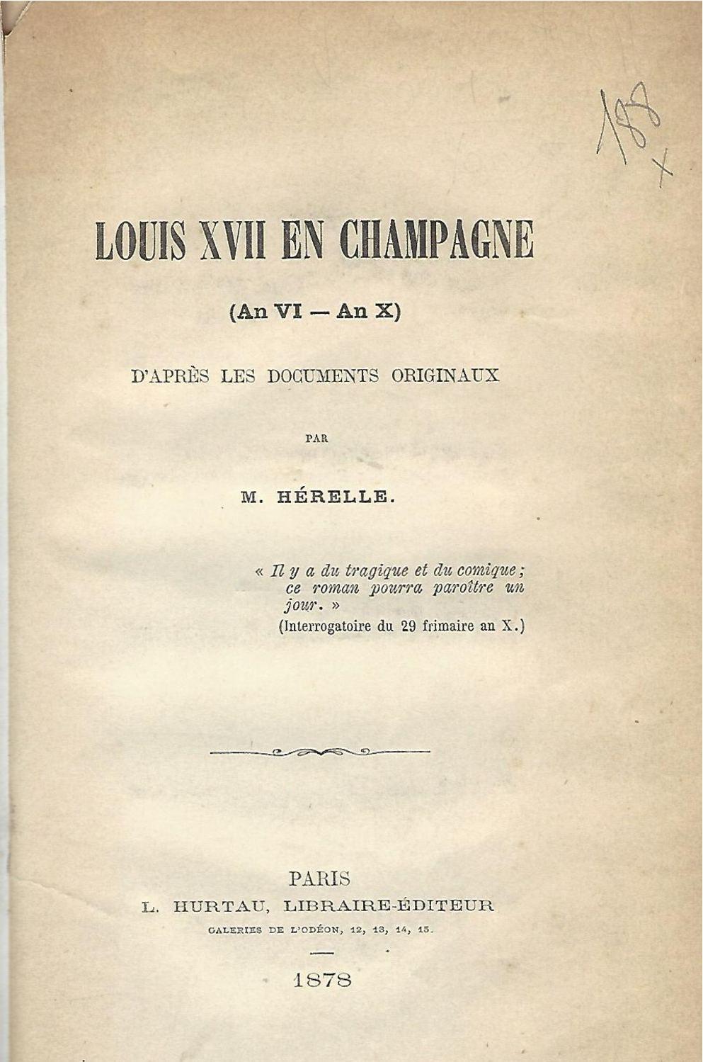Georges Herelle, Louis XVII en Champagne