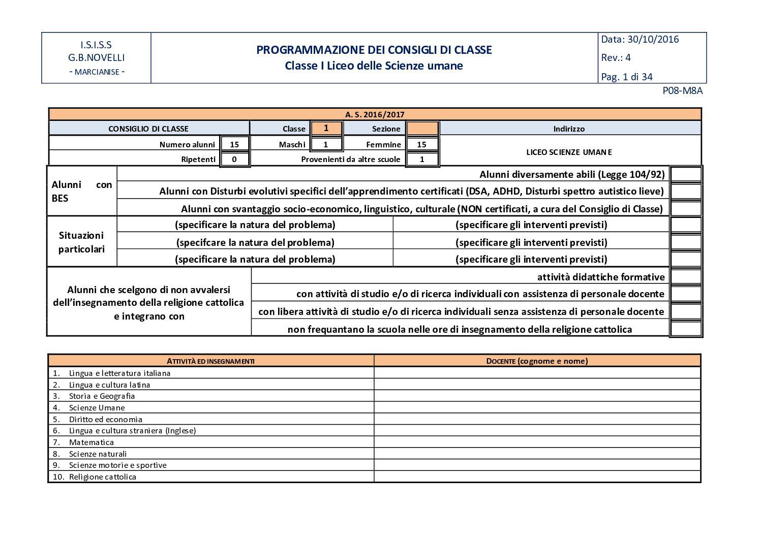 Calam o uda 1e2 classe liceo delle scienze umane - Orientamento casa ...