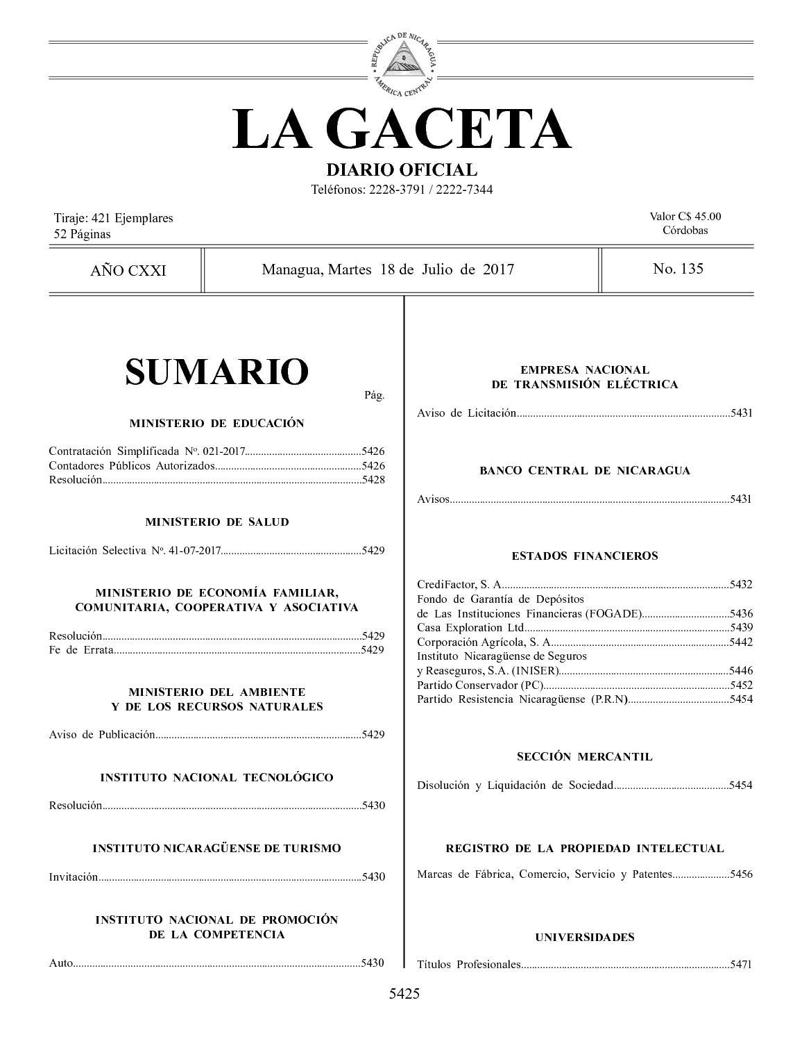 Gaceta No 135 Martes 18 De Julio De 2017