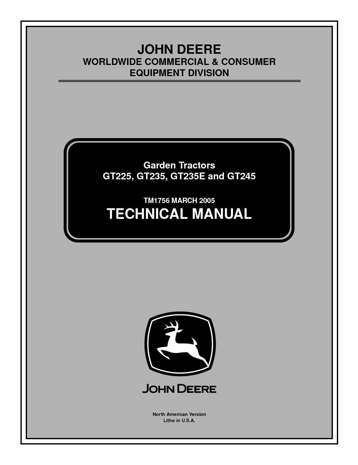 Calamo John Deere Gt245 Lawn Garden Tractor Service Repair Manual Gt235 Wiring Diagram