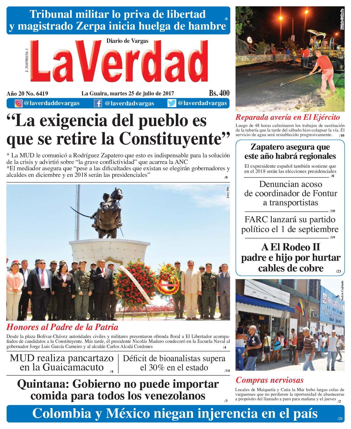 La Guaira, Martes 25 de julio de 2017 Año 20 No. 6419