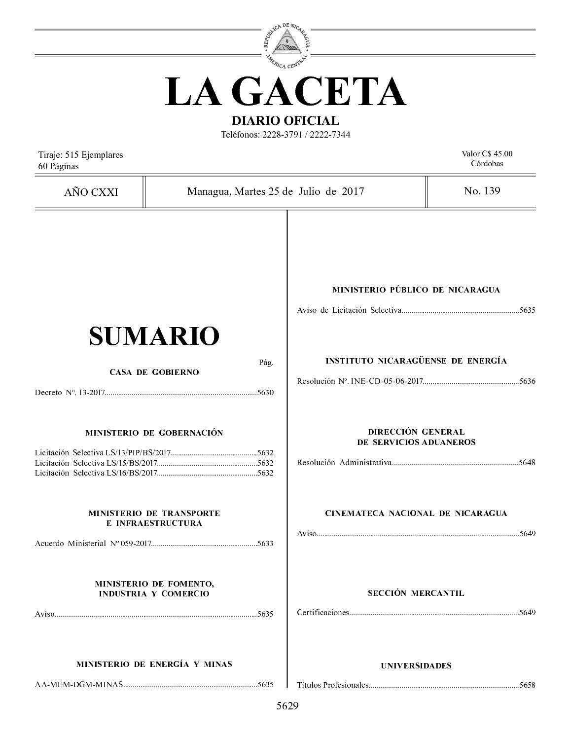 Gaceta No 139 Martes 25 De Julio De 2017
