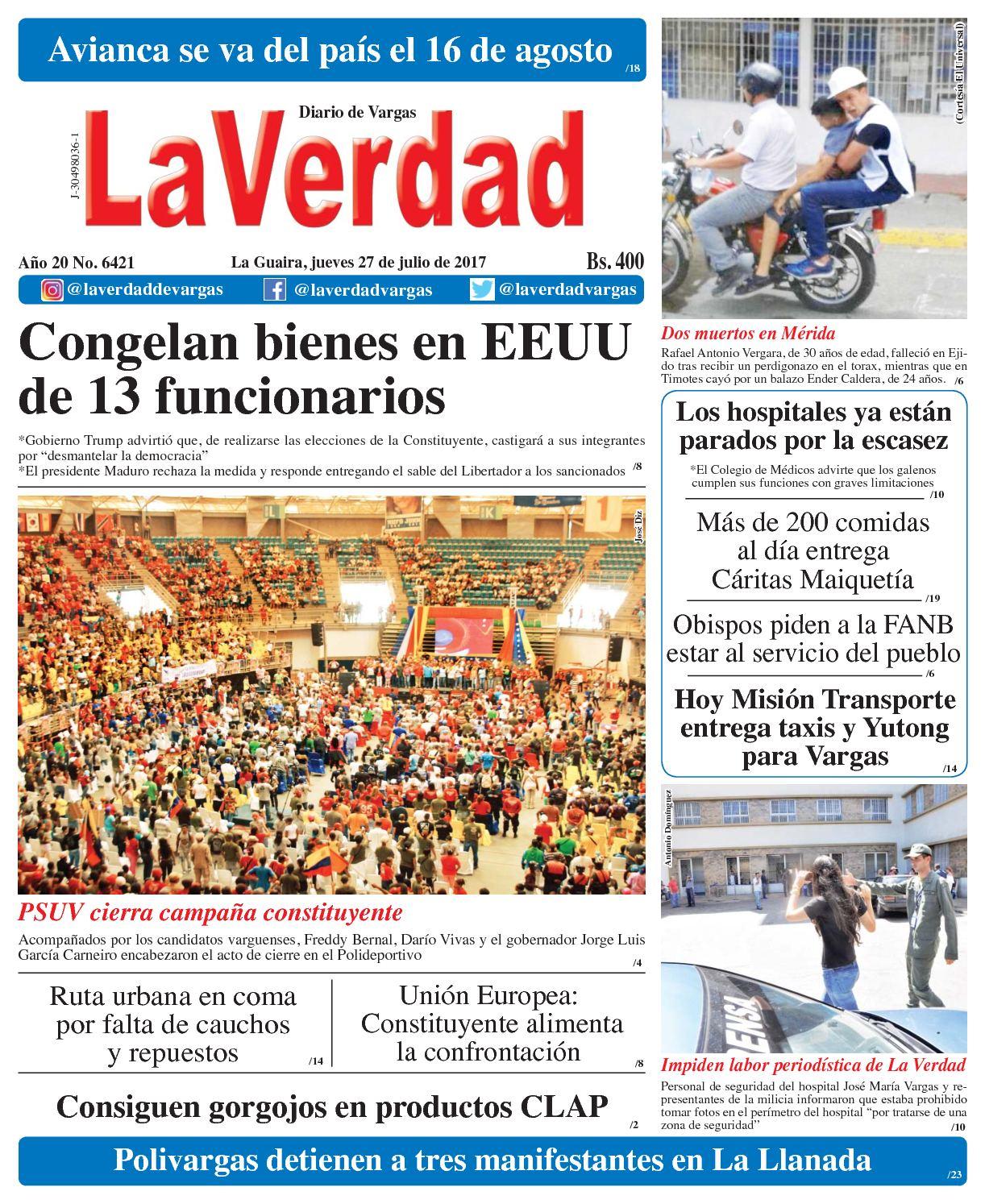 La Guaira, jueves 27 de julio de 2017 Año 20 No. 6421