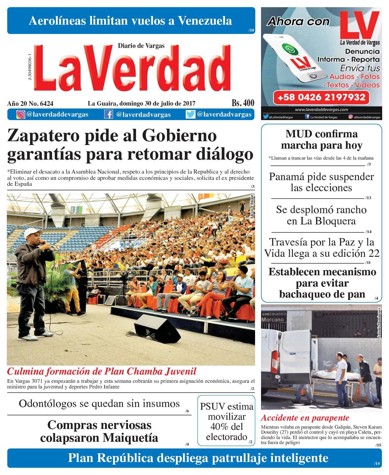 La Guaira, domingo 30 de julio de 2017. Edición 6424