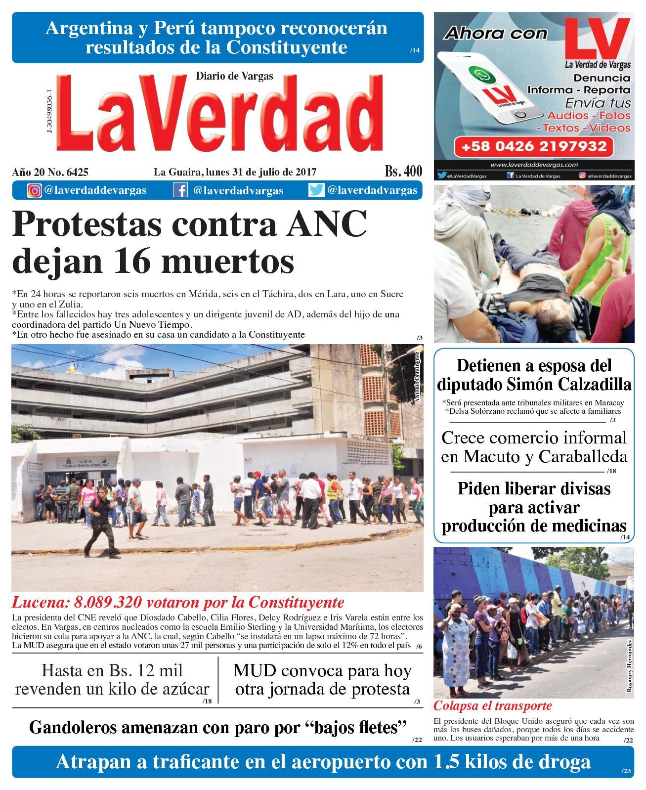 La Guaira, Lunes 31 Julio De 2017 Año 20 No 6425