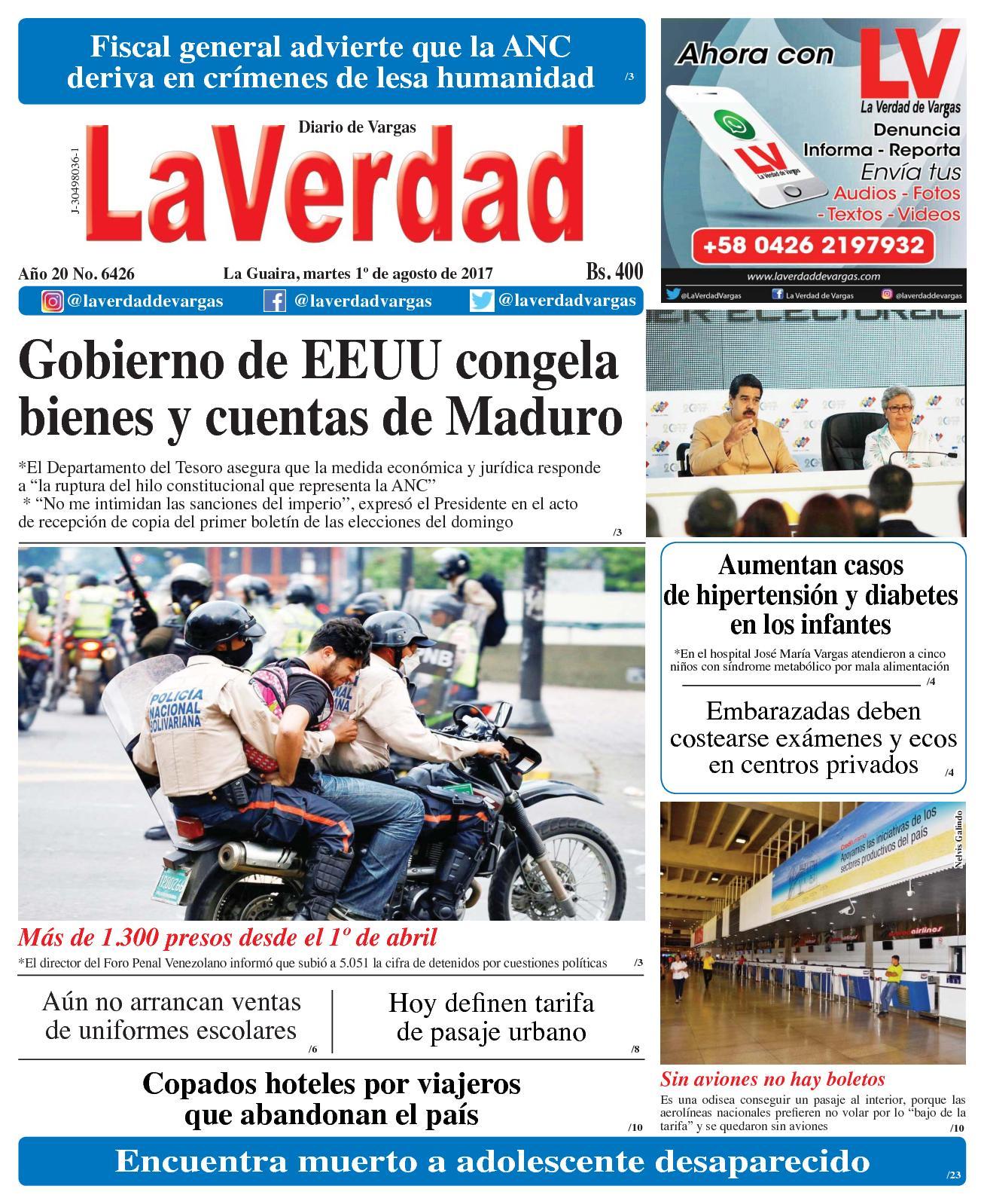 La Guaira, martes 1de Agosto de 2017. Año 20 No. 6426