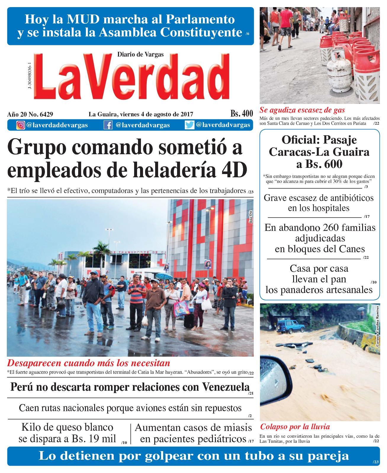 La Guaira, viernes 4 de Agosto de 2017. Año 20 No. 6429