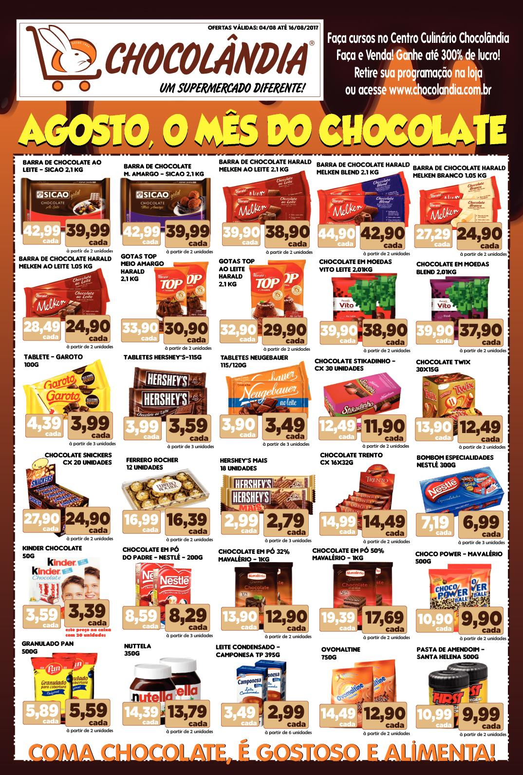 AGOSTO - O MÊS DO CHOCOLATE