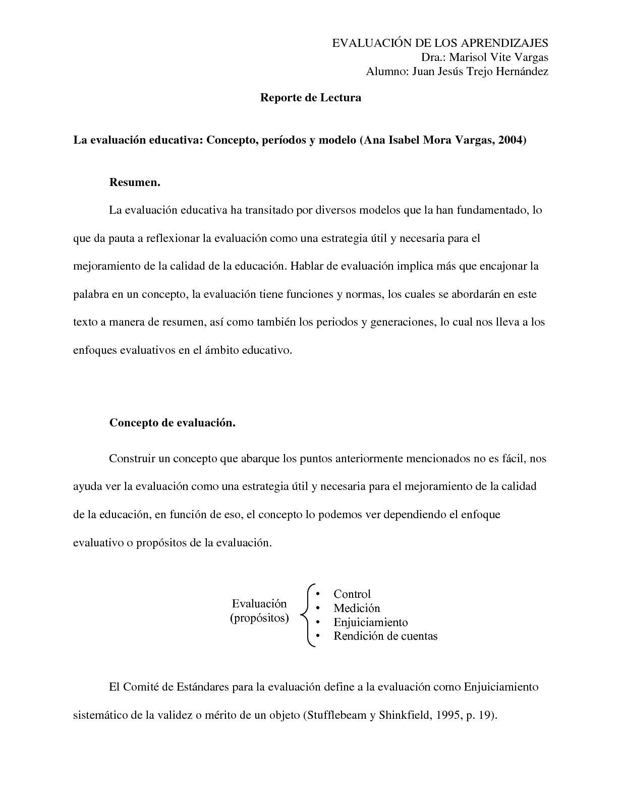 La Evaluación Educativa Concepto, Períodos Y Modelo (Ana Isabel Mora Vargas, 2004)