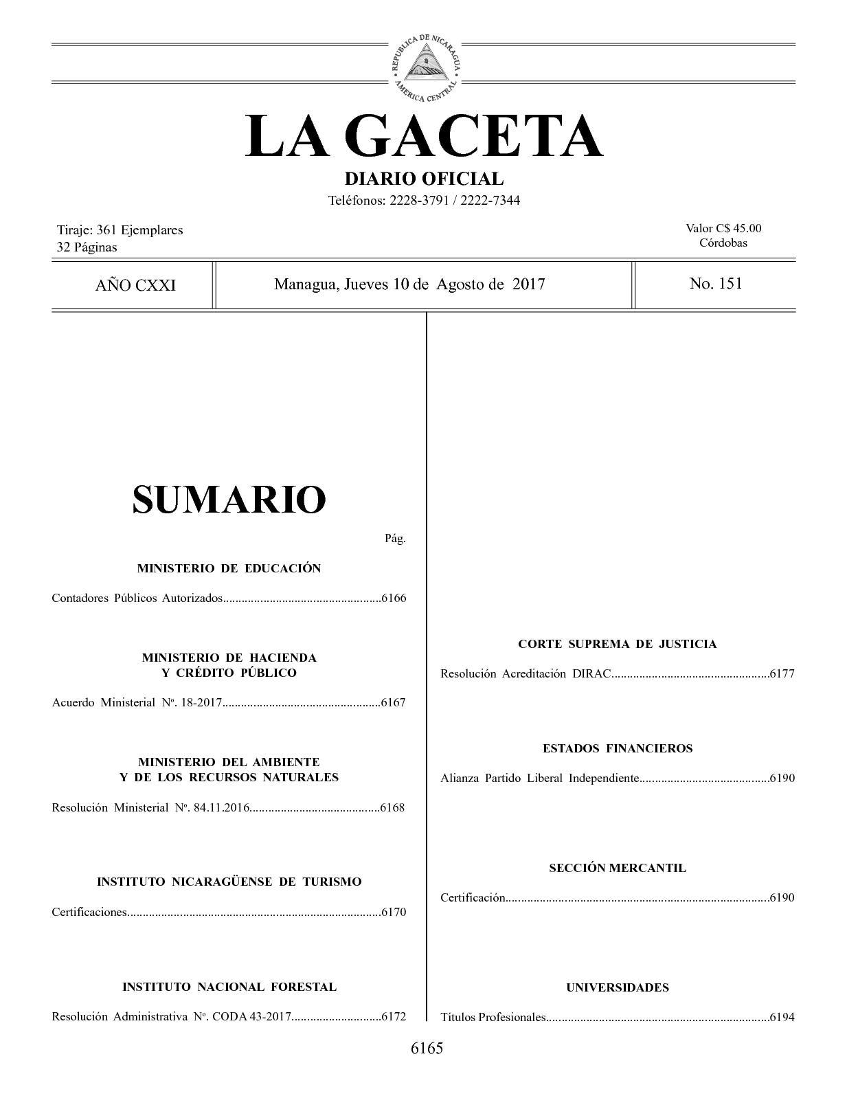 Calaméo - Gaceta No 151 Jueves 10 De Agosto De 2017