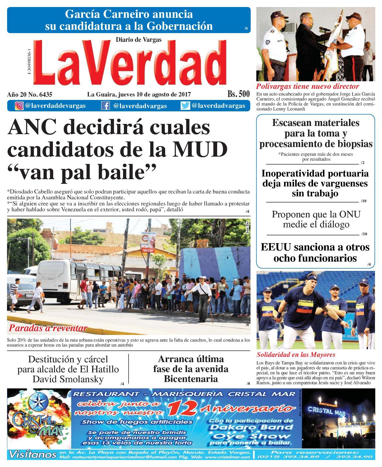 La Guaira, jueves 10 de Agosto de 2017. Año 20 No. 6435