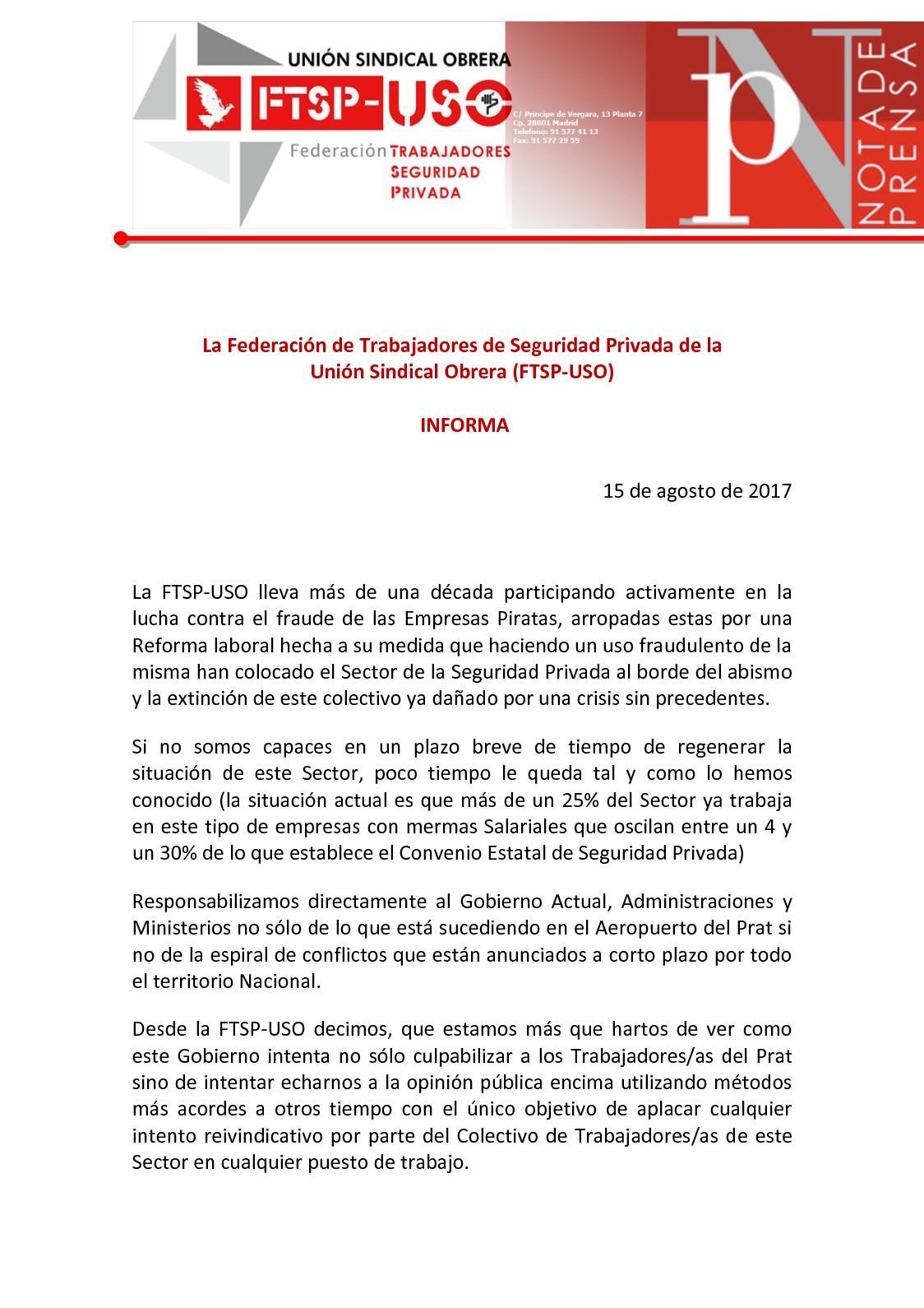 Calaméo - Nota De Prensa Conflicto Seg Privada Agosto 2017