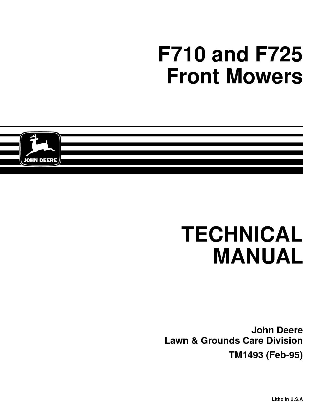 Calamo John Deere F725 Front Mower Service Repair Manual 270 Alternator Wiring Diagram