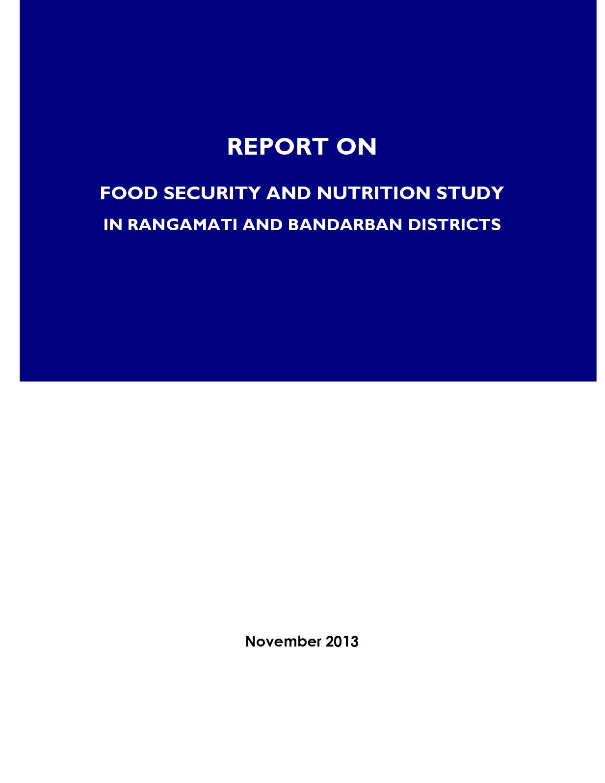 Cht Food And Nutritional Security Study