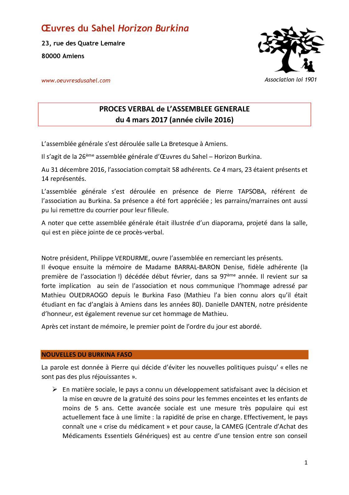 Calameo Proces Verbal De L Assemblee Generale Du 4 Mars 2017