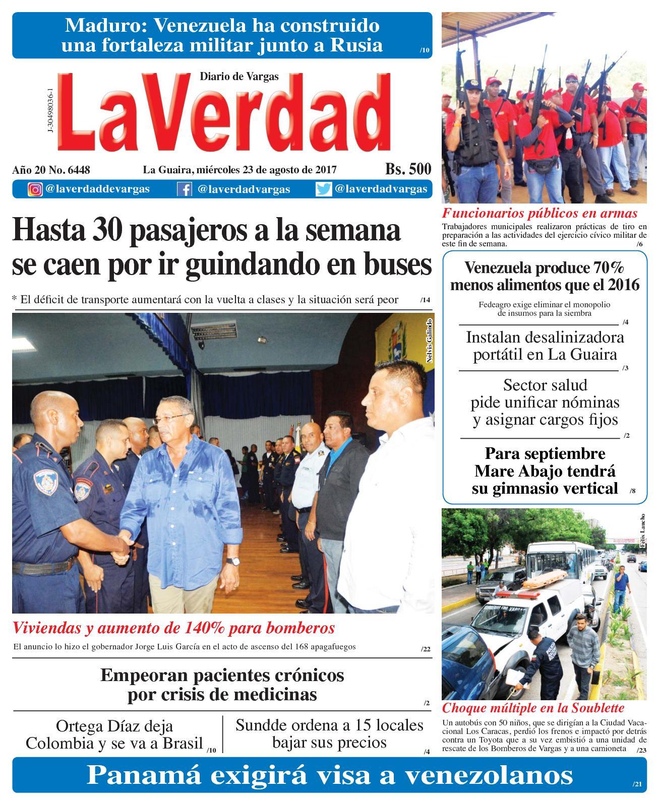 La Guaira, miércoles 23 De Agosto De 2017 Año 20 No. 6448