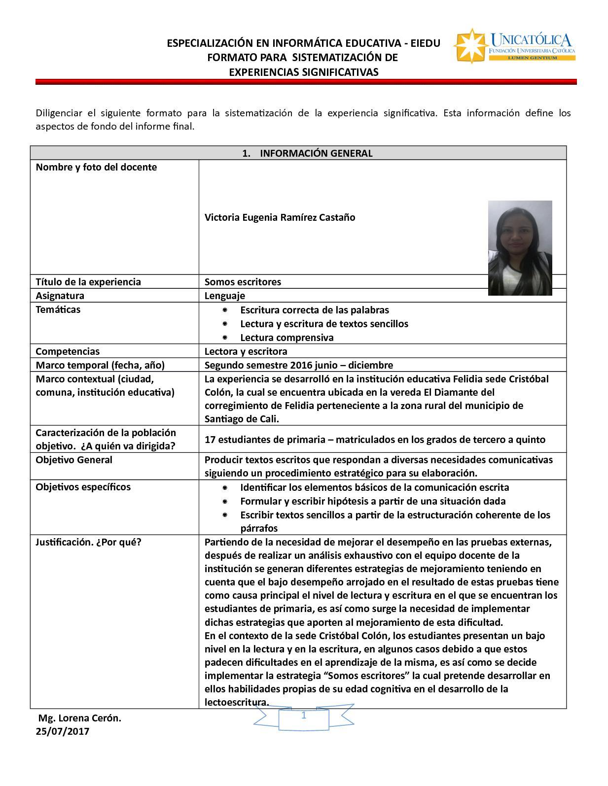 Calaméo - Plantilla Experiencias Significativas Victoria Ramírez