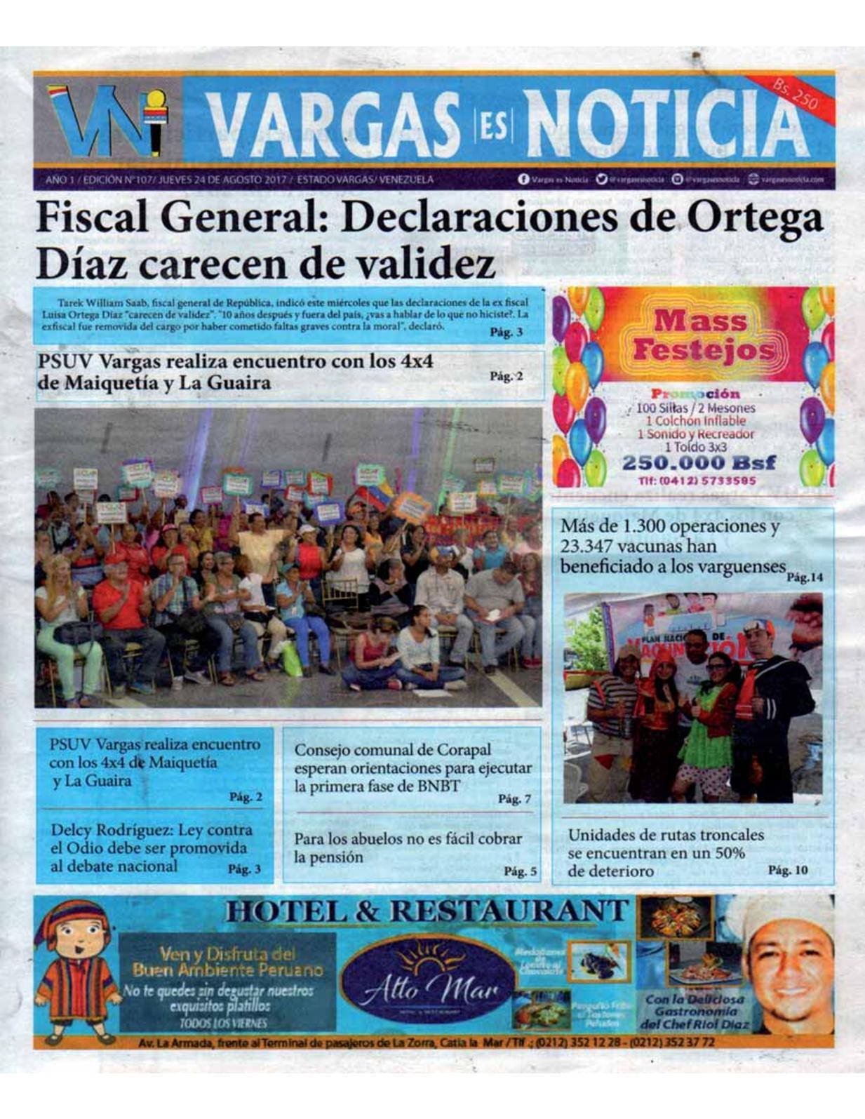 Vargas es Noticia, jueves 24 de agosto de 2017 N° 107