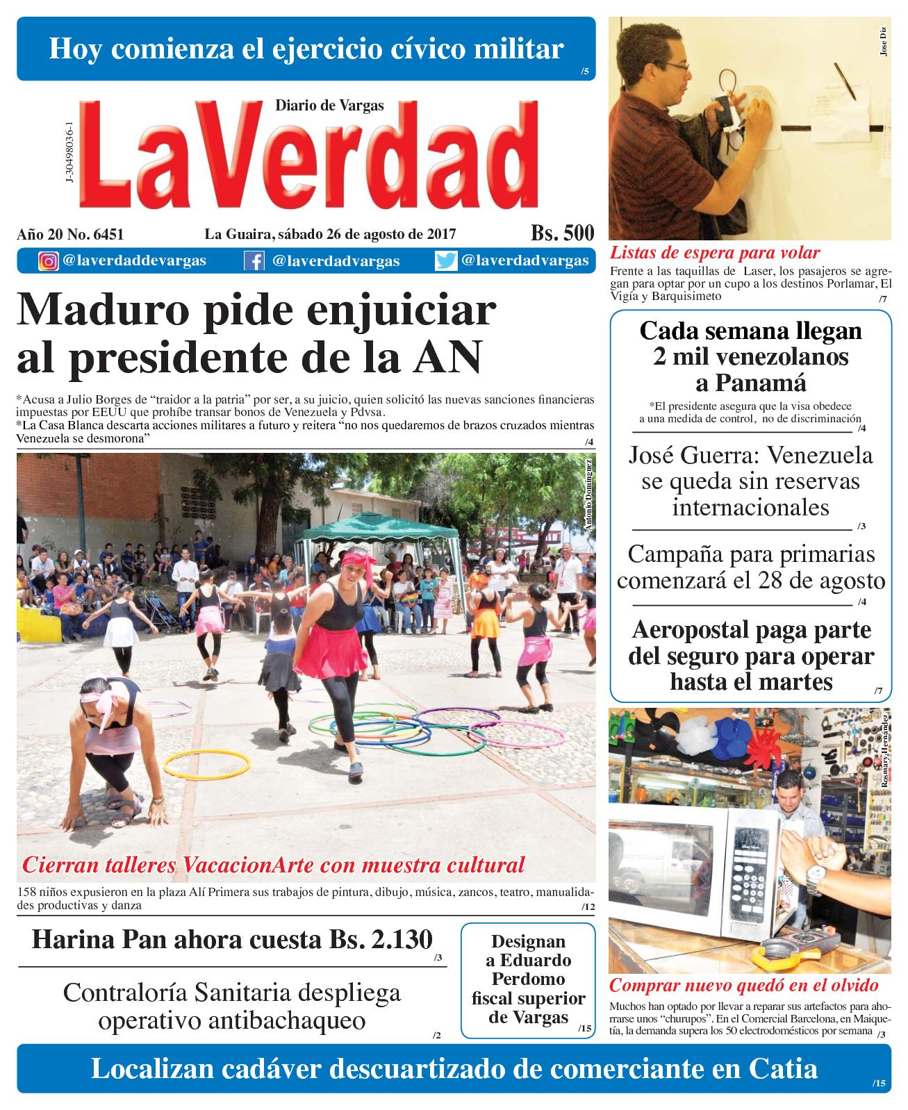 La Guaira, sábado 26 de Agosto de 2017. Año 20 No. 6451