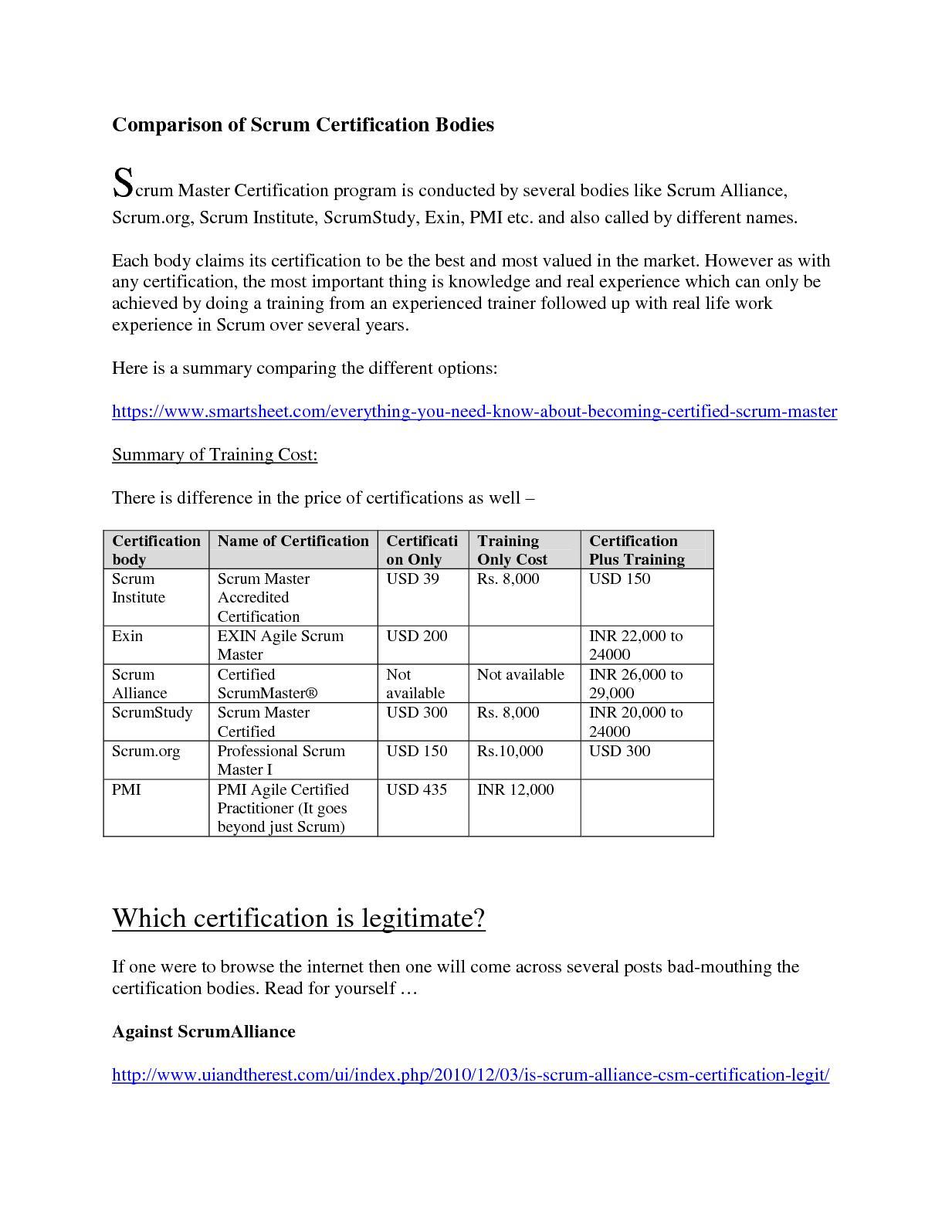 Calamo Comparison Of Scrum Certification Bodies