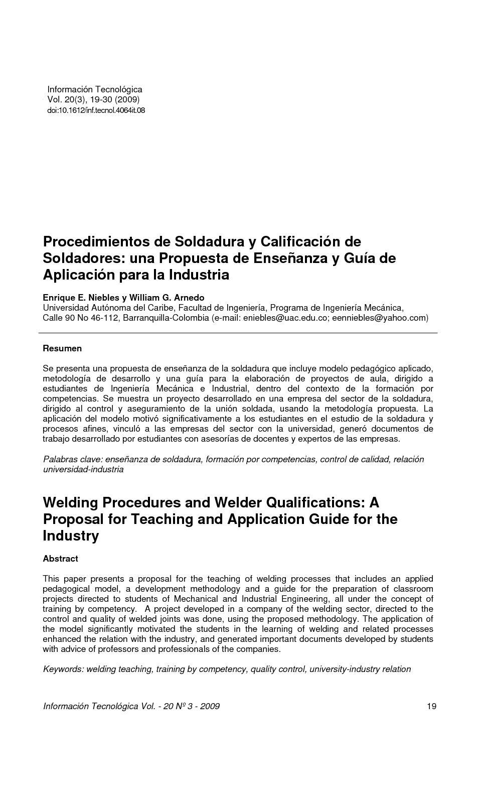 Procedimiento de Soldadura Y calificacion de Soldadores